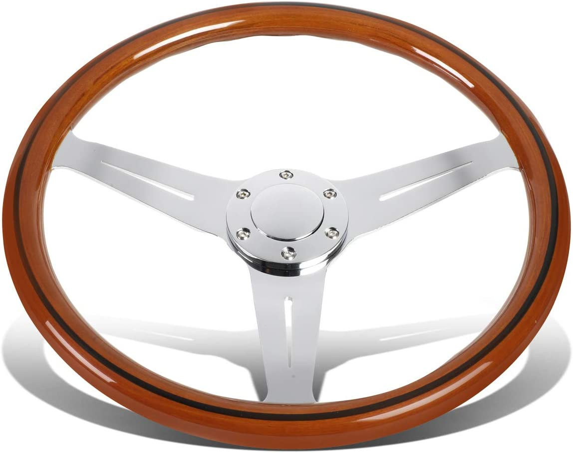 DNA MOTORING FW1505 380mm Stainless Steel Spokes Wood Grain Grip Vehicles with Aftermarket 6-Bolt X 70mm Pattern Steering Wheel Hubs Chrome//Cherry Wood Grain