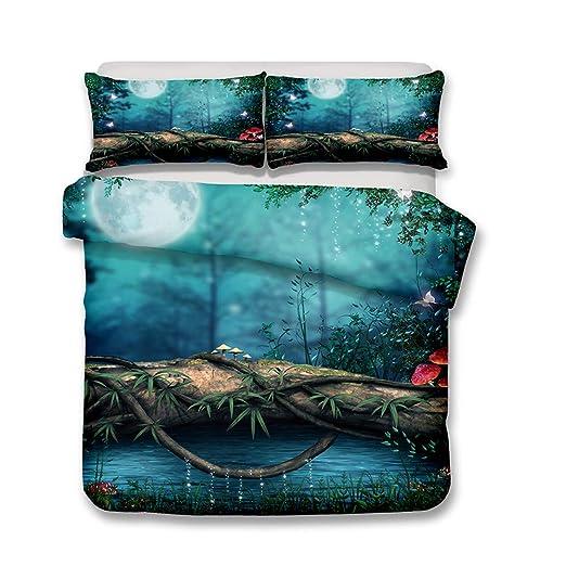 Andrui Juego Funda Nórdica Bosque Mystical Fairytale Fantasy Design Paisaje Natural Poliéster Funda nórdica Ropa de Cama (Style 1#, 240×220cm (para ...