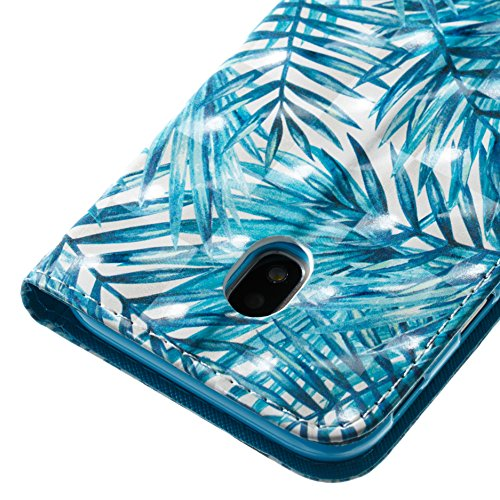 Lotuslnn Samsung J3 2017 for Europe caja del teléfono, caja de cuero de la PU cubierta de cierre magnético cubierta con Kickstand y ranuras para tarjetas de bolsillo en efectivo para Samsung J3 2017 f Leaves