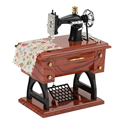 Hankyky Vintage Mini Sewing Machine Style Plastic Music Box Table Desk Decoration Toy Gift for Kid Children: Home & Kitchen