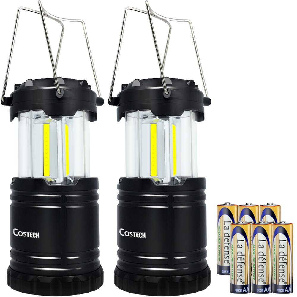 LED Camping Lantern, Costech Cob Light Ultra Bright Collapsible Lamp, Portable Hanging Flashlight for Outdoor Garden Hiking Fishing(2 Pack)