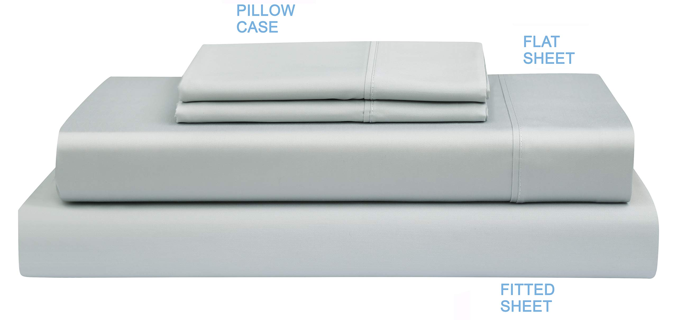 Boston Linen Co. 300 Thread Count Percale 100% Cotton Sheet Set - Luxury Finish - Durable, Crisp, and Breathable Long-Staple Combed Cotton - 4 Piece Set - King, Steel Gray by Boston Linen Company (Image #2)