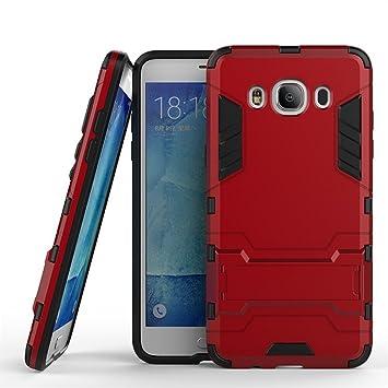 Galaxy J5 2016 Heavy Duty Funda DWaybox 2 in 1 Hybrid Armor Hard Carcasa Funda para Samsung Galaxy J5 2016 J5108 5.2inches (Marsala Red)