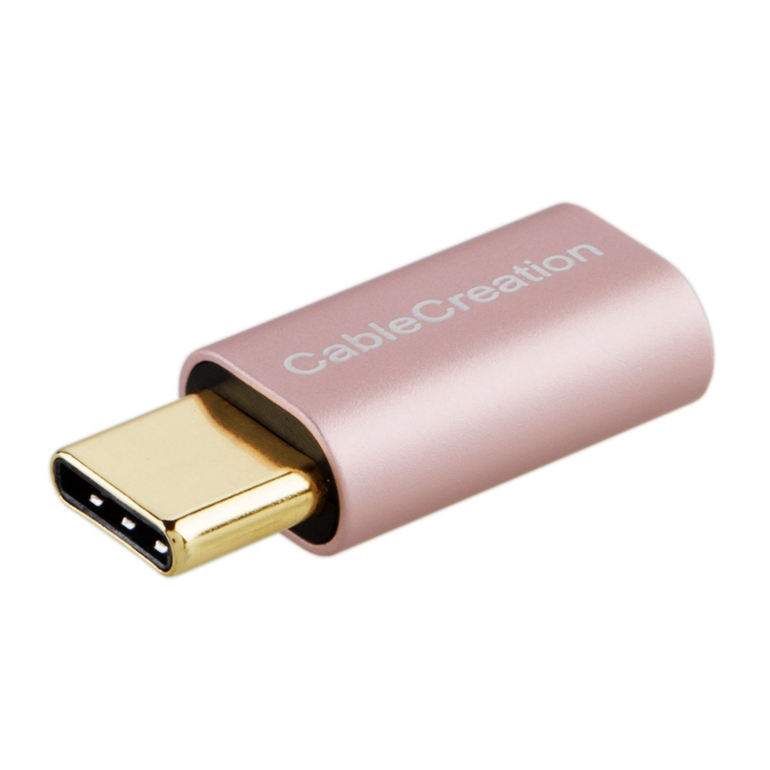 USB-C to Micro USB Adapter, CableCreation Micro USB Female to USB Type C Male Adapter Data & Charging with 56K Resistor, Compatible OnePlus 2/3/3T/5/6/6T, Huawei P20 Pro etc, Rose Gold Aluminum