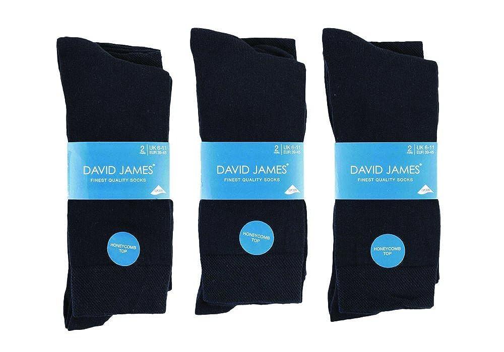 6 Pairs 6-11 UK David James Giovanni Cassini Cotton Striped Plain Socks