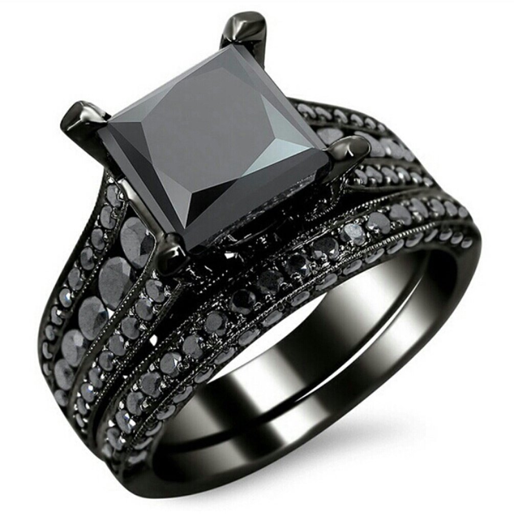 Amazon.com: AMiERY Black Gold Sapphire Princess Cut CZ Wedding Engagement  Band Bridal Rings Jewelry Set: Jewelry