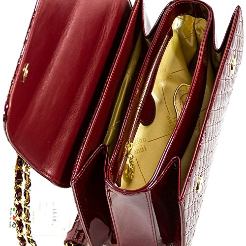 Designer Italian Leather Burgundy Bag Messenger Orlandi Quilted Valentino Purse aEqx66