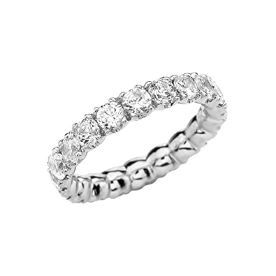 eternity p bands sterling zirconia over cz ring gold garland wedding white round plated in silver band cubic