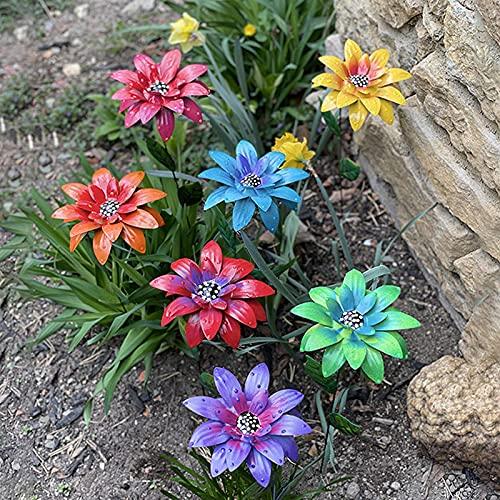 Metal Flower Garden Decor Flower Art Garden Outdoor Sunflowers Daisy Lawn Ornaments (7PC)