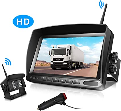 "7/"" Monitor Wireless Digital IR Rear View Back up Camera for Bus RV Truck Kits"