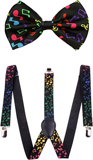 Black Glitter Suspenders /& Black Sequin Detail Bow Tie Set Classic Bowtie Combo