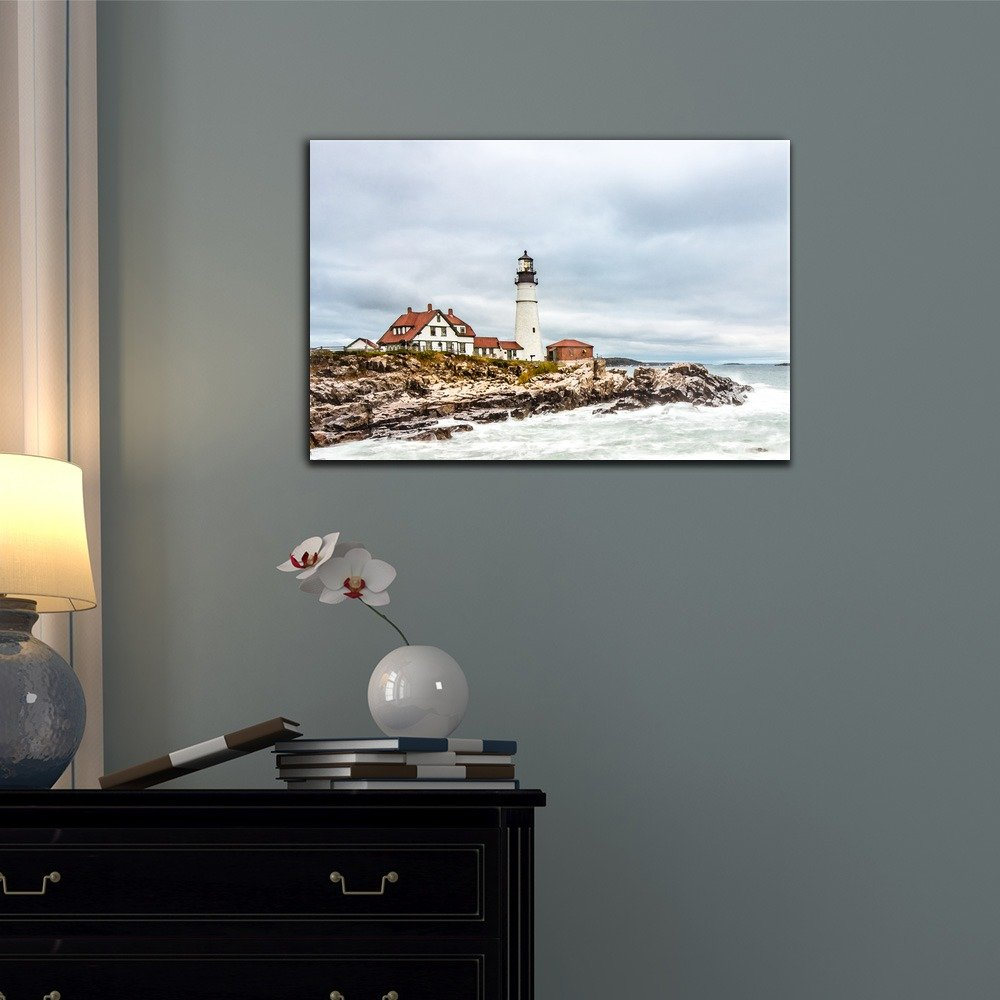 wall26 – Canvas Wall Art – Portland Head Lighthouse in Cape Elizabeth, Maine. – Gallery Wrap Modern Home Decor Ready to Hang – 32×48 inches