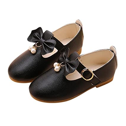 577f72796a2 Ankola Kids Princess Shoes Girls Mary Jane Wedding Party Shoes Leather  Bowknot Pearl Bridesmaids Low Heels