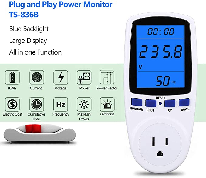 7 Display Modes for Energy Saving Overload Protection Watt Meter Upgraded Night Vision Power Meter Plug Power Consumption Monitor Energy Voltage Amps Electricity Usage Monitor Digital LCD Display