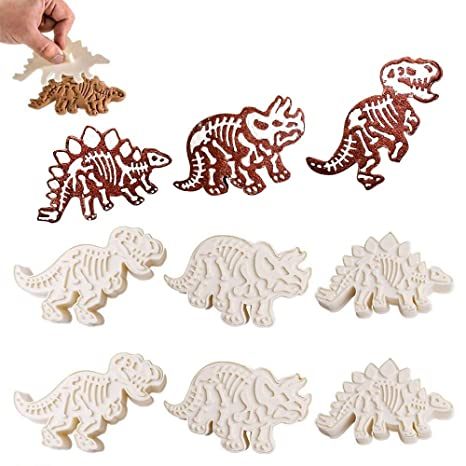 6pcs Dinosaur fósiles Cookie hacer moldes, dinosaurios Chocolate moldes para galletas juego de relieve,