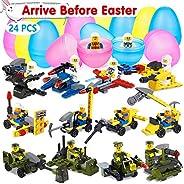 UMIKU Easter Egg Fillers Toys 12pcs Plastic Easter Eggs + 12pcs Building Blocks Easter Basket Stuffers Prefilled Easter Eggs