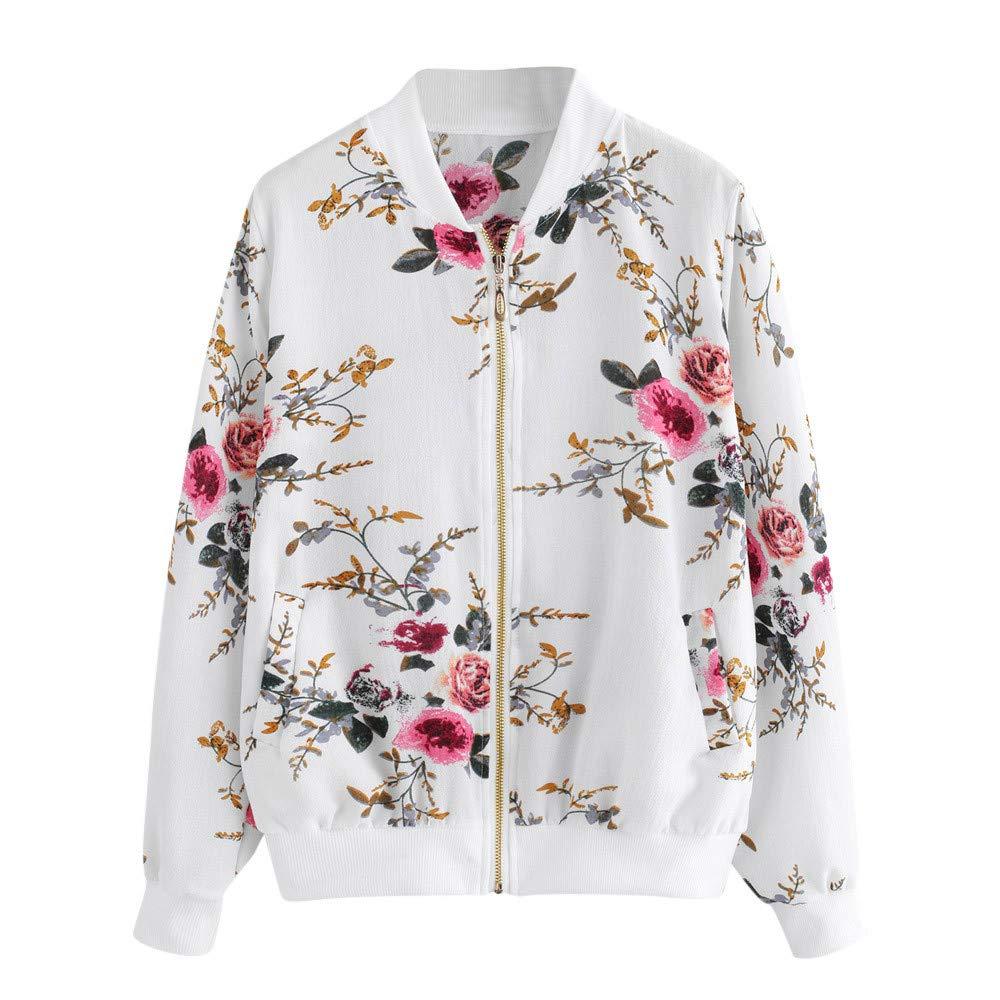 Cuekondy Women's Floral Zipper Jacket Lightweight Coat Classic Long Sleeve Short Bomber Jacket With Pockets by Cuekondy
