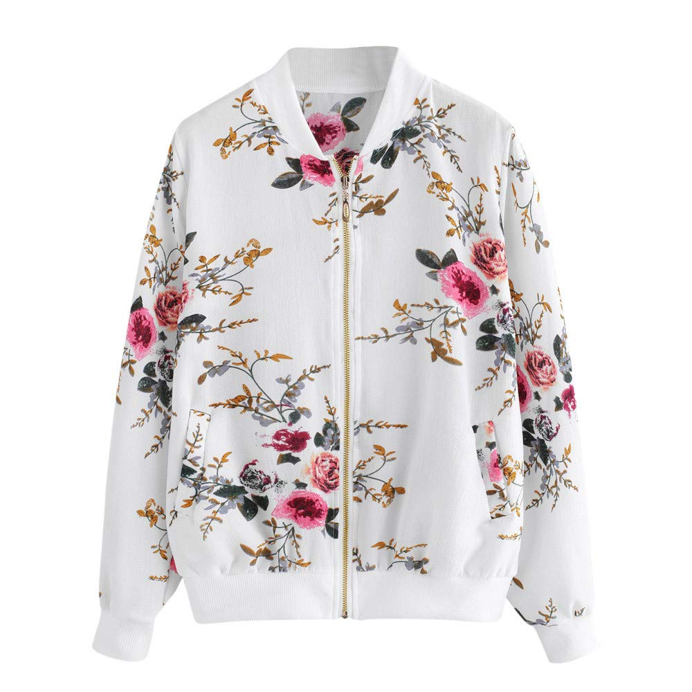 Pervobs Womens Retro Floral Full-Zipper Long Sleeve Pocket Omber Jacket Coat Outwear