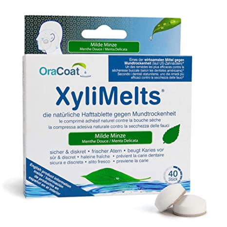 OraCoat XyliMelts - 40 pastillas adhesivas contra caries y sequedad bucal - Menta suave