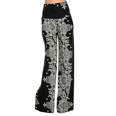 9dc4b90d1893 Battercake Pantalon Femme Pantalon De Loisirs Wide Leg Pants Taille  Élastique Oversize Elégante Printemps Casual Dame Automne Bouffant Longues   Amazon.fr  ...
