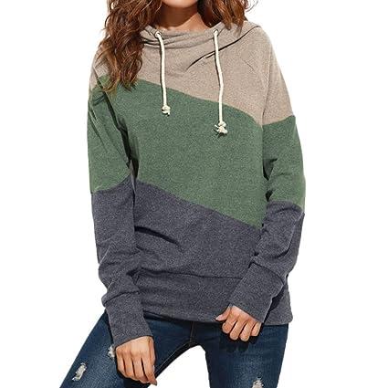 LILICAT® Blusa Suelta con Capucha Colorblock, Mujer Casual Manga Larga slusa Blusa Sudadera Jersey