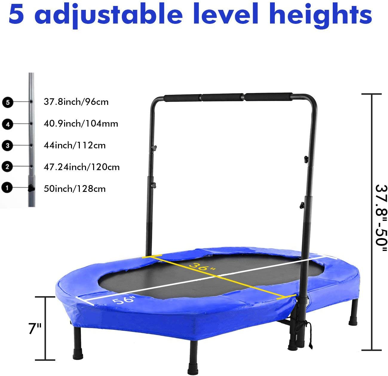 Hosmat Rebounders Mini Trampoline for Adults or Kids with Adjustable Handle Bar, Parent-Child Twins Trampoline Max. Load 220LBS