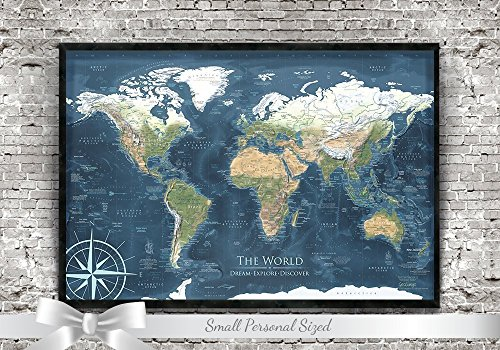 Push Pin Travel Map - 24x18 inch framed map - The Voyager 2 World Map - Designed by a Professional Geographer by GeoJango