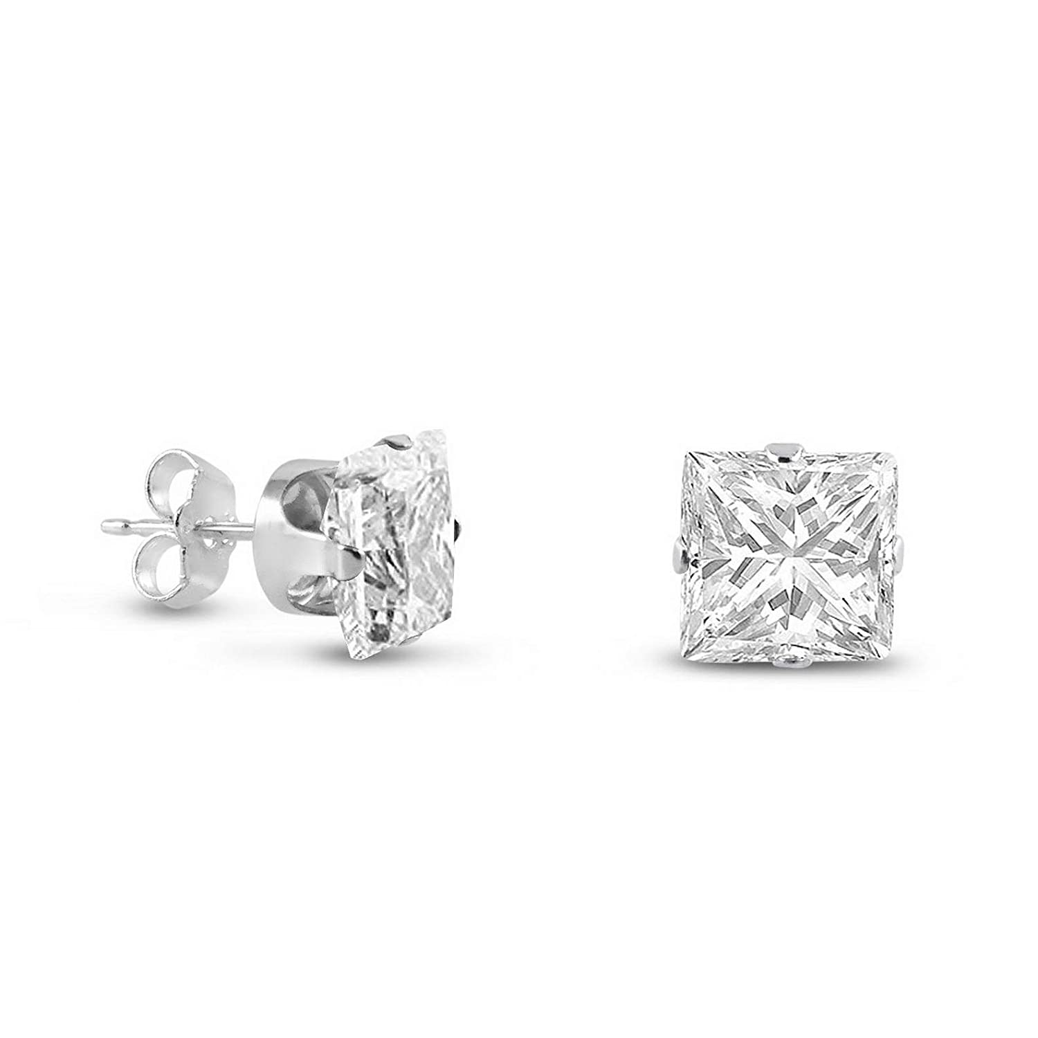 13175 Clear White CZ ~ April Birthstone Waldenn .925 Sterling Silver Square Stud Earrings 4mm Model ERRNGS Medium