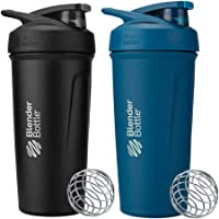 BlenderBottle 24 Ounce Strada Insulated Stainless Steel Protein Shaker Bottle - Ocean Blue and Black Combo - Double Wall…