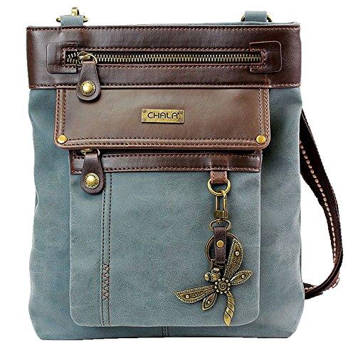 Chala GEMINI Crossbody PU Leather Messenger Bag Indigo - Indigo Dragonfly