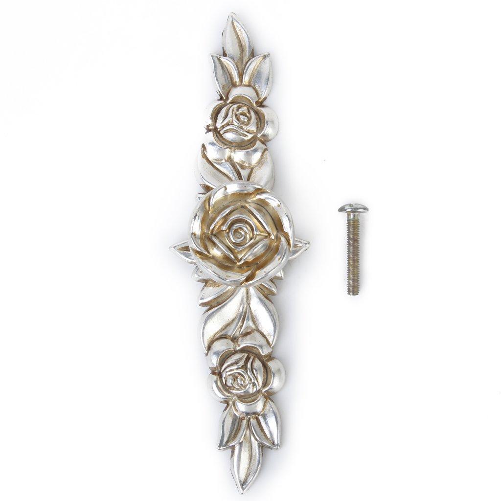 Antico Rosa Maniglie Cassetti Pomelli Mobili Casa Manopola 146mm Argento Generico