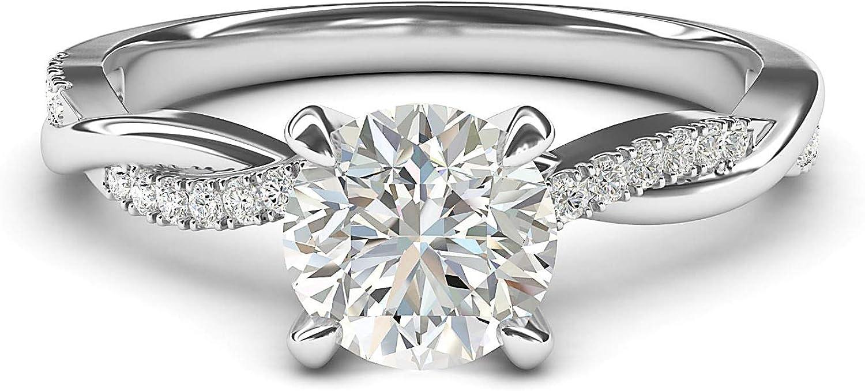 Anillo de compromiso de plata de ley de 4 puntas con diamante de imitación de vid trenzado de 1 quilates