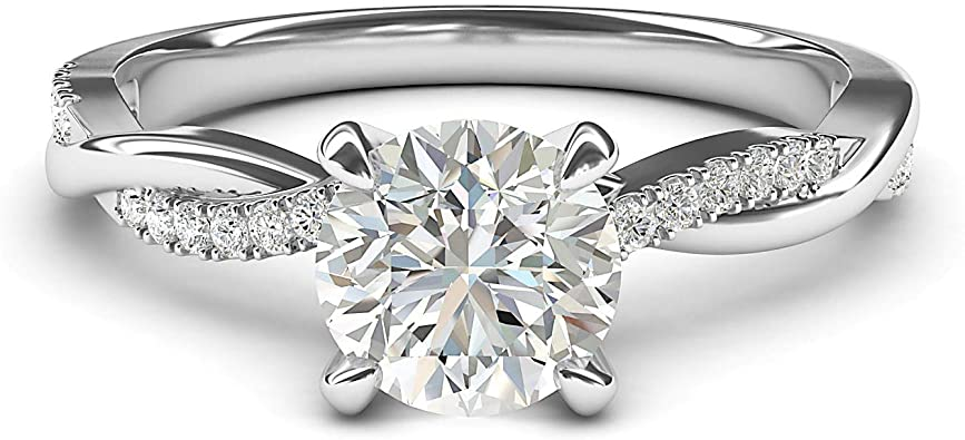 4 Prongs Ring Wedding Promise Moissanite Ring Solitaire Round 1.25CT Moissanite Ring Classic Style Ring 14k White Gold Engagement Ring