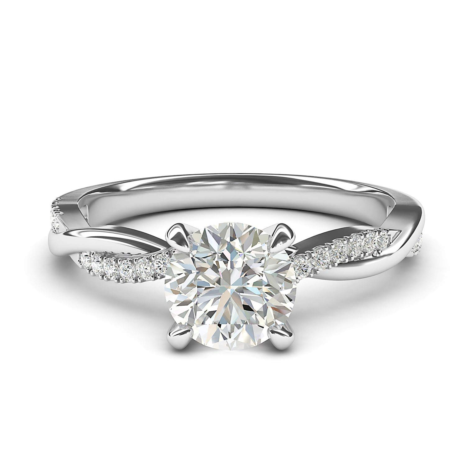 14k White Gold 4-Prong Petite Twisted Vine Simulated 1.0 CT Diamond Engagement Ring Promise Bridal Ring (7)