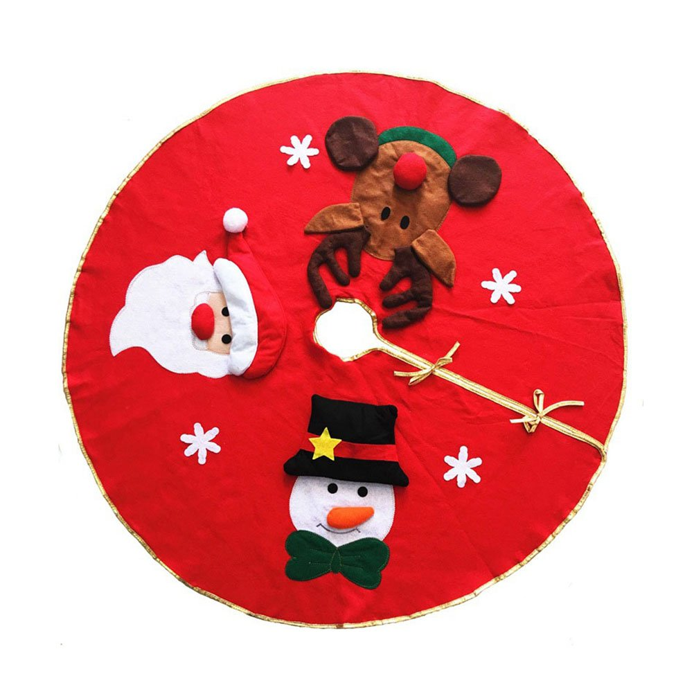 KODORIA Christmas Tree Skirt Round Tree Skirt with Snowman Santa Claus Elk Pattern Christmas Tree Ornaments Decoration Xmas Tree Cover Home Party Decor,42inch