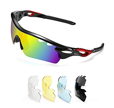 f331bdfbf2fc6 Amazon.com  FEISEDY Polarized Sports Sunglasses 5 Interchangeable ...