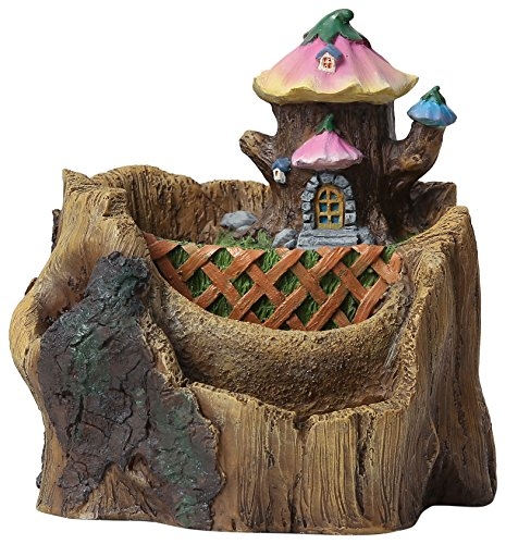 Winsome House Flower House Log Planter Miniature Fairy Garden
