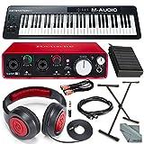 M-Audio Keystation 61 II MIDI Keyboard Controller & Focusrite Scarlett 2i2 USB Audio Interface (2nd Generation) + Deluxe Studio Bundle