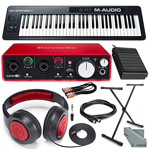 M-Audio Keystation 61 II MIDI Keyboard Controller & Focusrite Scarlett 2i2 USB Audio Interface (2nd Generation) + Deluxe Studio Bundle by M-Audio