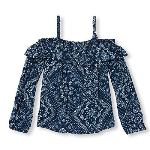 - The Children's Place Big Girls' Long Sleeve Off The Shoulder Bandana Print Woven Shirt, Milky Way, S (5/6)