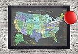 USA Push Pin Travel Map - Slate Edition - Medium Size Framed