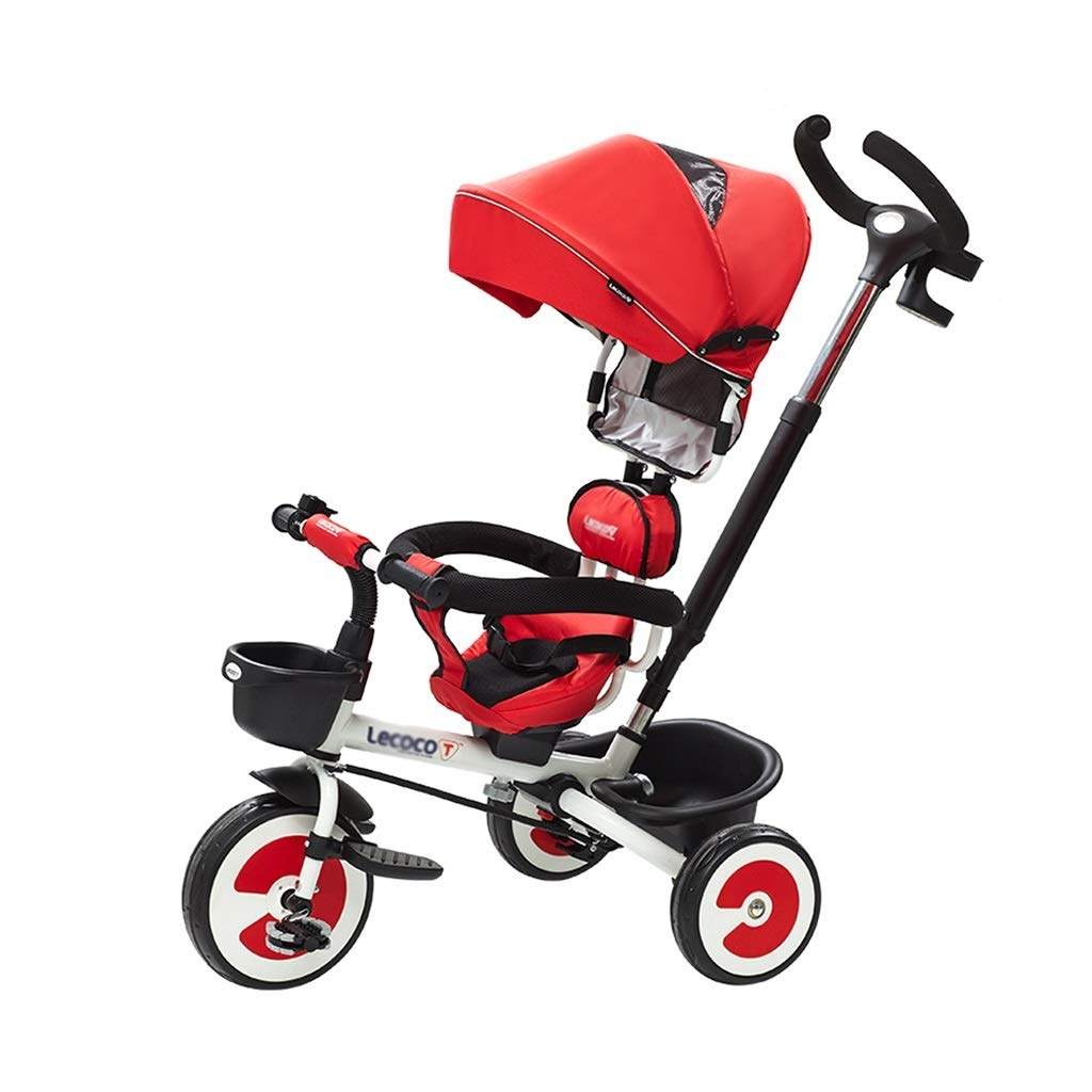 Xing Hua Shop Stroller Toys Children's Tricycle Trolley Children's Folding Bicycle Walker 1-3-6 Years Old Children's Bicycle with Sunshade, Can Be Pushed (Color : Red, Size : 925056cm)