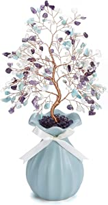 Top Plaza Amethyst & Amazonite & Opal Reiki Healing Crystals Copper Money Tree Wrapped On Blue Ceramics Vase Crystal Home Office Desk Tree Decor Feng Shui Luck Figurine Statue 11 Inches