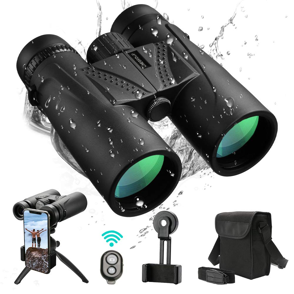 UNEGROUP Binoculars for Adults, 10x42 HD Low Light Night Vision Compact Binocular, Waterproof Lightweight Binocular Prism FMC BAK4 for Outdoor Birdwatching Sports Games with Smartphone Adapter Tripod by UNEGROUP