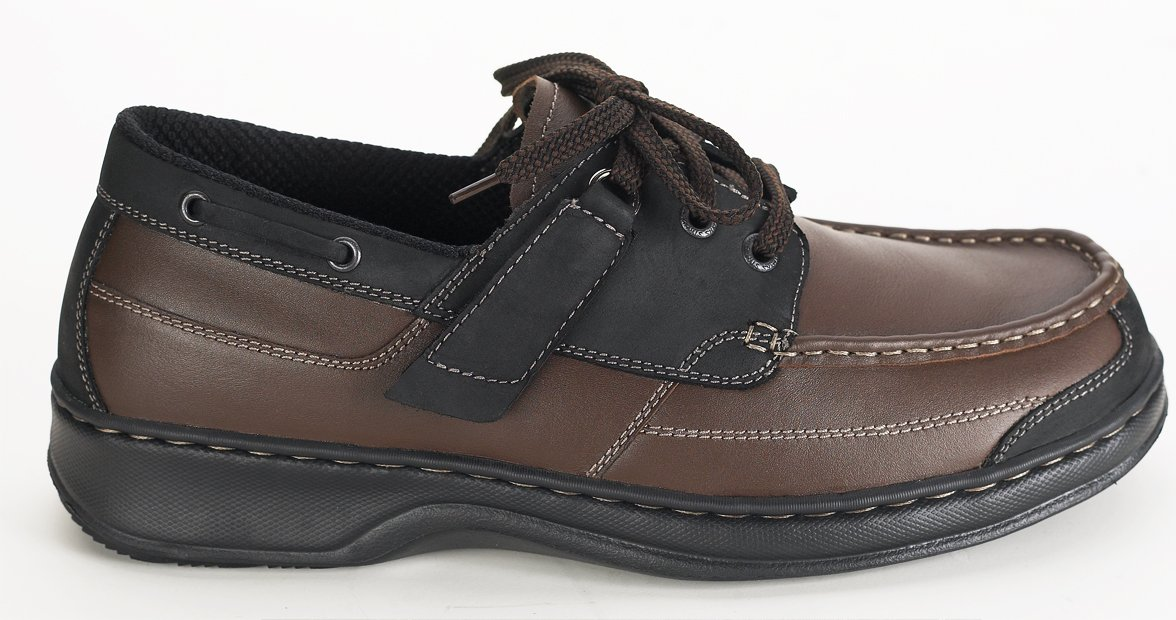 Orthofeet Baton Rouge Comfort Arthritis Orthopedic Mens Diabetic Boat Shoes Brown/Black Leather 11 XW US by Orthofeet (Image #4)