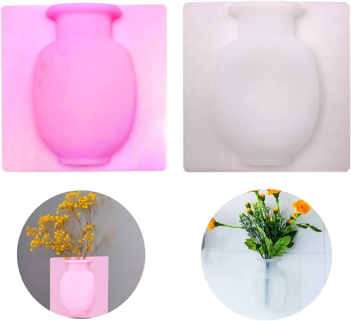 9M9 Silicone Flower Vase 2 Pack Wall Vase Removable Air Plant Holder Strong Adhesion Magic Flower Pot Home Kitchen Office Decorative Sticky Vase