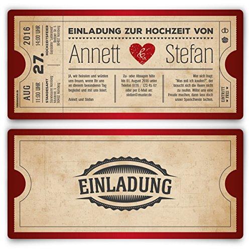 Einladungskarten zur Hochzeit (20 Stück) als Eintrittskarte Vintage Retro Einladung Karte