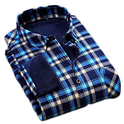 today-UK Mens Thicken Warm Plaid Long Sleeve Button Down Casual Shirts 5
