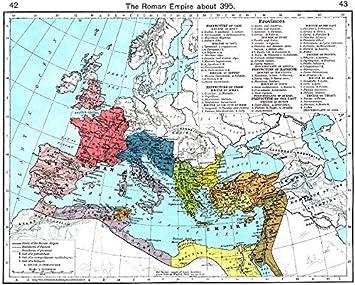 Römisches Reich Karte.Amazon De Europa über Dem Römischen Reich 395 1956 Karte