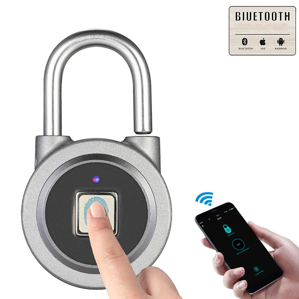 MUYIER Fingerprint Padlock with APP, Bluetooth Keyless Lock Remote Share Unlock Record Query Portable USB Charging Security Lock for House Door Suitcase Backpack,B by MUYIER